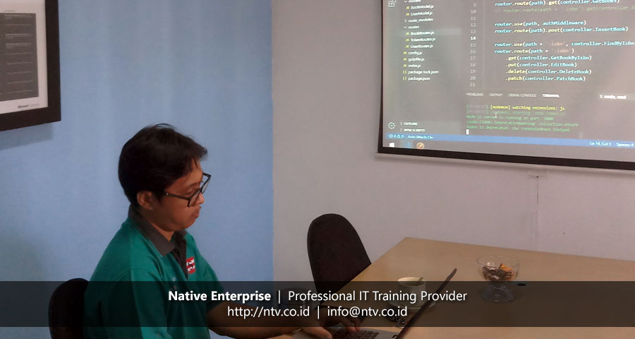 "Training ""Web App Development using Node.js Express and MongoDB"" bersama Praweda Sarana Informatika"